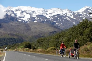 Mt Ruapehu is the perfect backdrop for a ride. Photo / Tourism Ruapehu