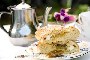 Orange and cream cheese scones with rhubarb jam. Photo / Babiche Martens