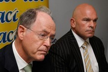 Former National party leader Don Brash (left) led a successful leadership coup against Act's Rodney Hide who resigned from his position. Photo / Brett Phibbs