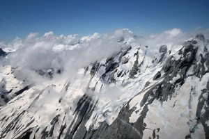 An aerial view of the Southern Alps. Photo / Sarah Ivey