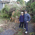70 Roseberry Avenue. Yonathan (right) and Jin Kim outside their home at 70 Roseberry Avenue in Birkenhead. A large tree fell over and hit the side of their house. Photo / Sarah Ivey