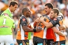 Liam Fulton of the Tigers is congratulated by team mates. Photo / Getty Images