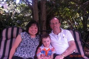 Left to right: Imelda van Gelder, four-year-old Jayden van Gelder and Steven van Gelder. Photo / Supplied.