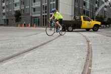 The first section of tracks has been laid on Halsey Street. Photo / Paul Estcourt