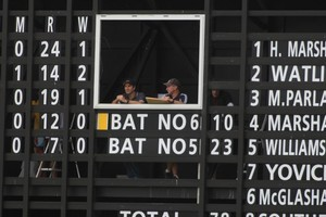 The scoreboard at Cobham Oval. Photo / Michael Cunningham