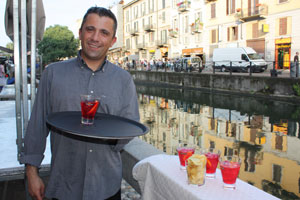 You're never far from a cocktail and a smiling waiter in Milan. Photo / Paul Rush