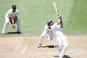 Azhar Ali of Pakistan pulls the ball during day two. Photo / Getty Images