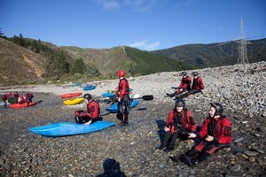 Members of the Swimming NZ team about to Kayak on the Outward Bound course. Photo / Supplied