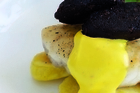 Fiona Read's roast hapuku &amp; black pudding on sherry potatoes with saffron aioli, nettle pesto &amp; watercress salad. Photo / Supplied