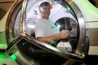 Inventor Hugh Fulton in his $1 million Q-Sub at the boat show yesterday. Photo / Greg Bowker