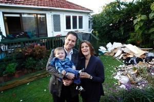 Gareth and Amanda Vaughan with 1-year-old son Hamish at their home in Royal Oak. They are having major home renovations. Photo / Sarah Ivey