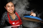 West Auckland MasterChef finalist Nadia Lim cooks up a storm in Queen Elizabeth Square. Photo / Sarah Ivey