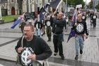 Kyle Chapman leads a march on 'White Pride World wide Day' in Christchurch in 2009. Photo / File