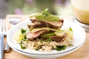 Lamb rump salad with avocado, rice and grapes, with brown sugar, caper and mustard vinaigrette. Photo / Babiche Martens