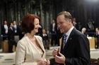 Australian Prime Minister Julia Gillard chats with New Zealand Prime Minister John Key. Photo / Supplied