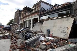 Tuam Street in Christchurch after the February earthquake. Photo / Simon Baker