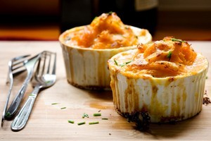 Salmon, lemon and caper with kumara mash pie. Photo / Babiche Martens