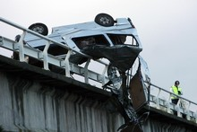 Jordyn Beach survived, but two of her friends died when this van crashed into a car on a bridge, catapulting them into a Hawkes Bay river. Photo / APN