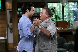 Jonathan Sadowski and William Shatner in $h*! My Dad Says. Photo / Supplied