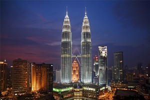 The Petronas Towers viewed from the SkyBar at Traders Hotel. Photo / Tourism Malaysia
