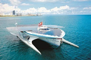 The world's largest solar boat has 537sq m of solar panels, lithium ion batteries and high efficiency electric motors. Photo / Supplied