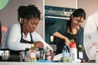 Jax Hamilton, left, and Nadia Lim in the kitchen. Photo / David Alexander