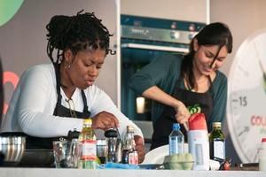 Jax Hamilton, left, and Nadia Lim in the kitchen. Photo / David Alexander