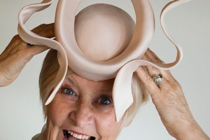 Master milliner Carolyn Gibson with her take on the hat worn by Princess Beatrice at the wedding of Prince William and Kate Middleton last month. Photo / Paul Estcourt