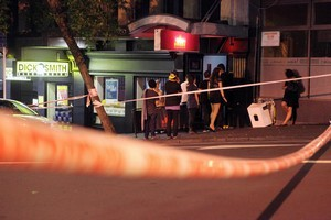 Police have arrested four men after a man was repeatedly assaulted outside the Pyramid Bar on Auckland's Wyndham Street earlier this month. Photo / NZPA/Bradley Ambrose