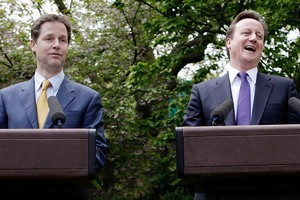 British Prime Minister David Cameron, right, and Deputy Prime Minister Nick Clegg. Photo / AP
