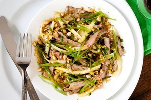 Seared beef salad with peanuts and pineapple. Photo / Babiche Martens