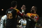 Chiefs flanker Liam Messam celebrates with teammate Isaac Ross after Saturday's stirring comeback. Photo / Getty Images