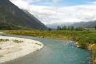 The Grey River as seen from the TranzAlpine train. Photo / Pamela Wade