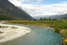 The Grey River as seen from the TranzAlpine train. Pho