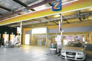 A mock-up of a new Z Energy station, built in a warehouse in East Tamaki. Photo / Sarah Ivey