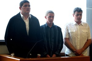 Kyle Dean, Brad Bennett and Ashley Wolland appear in the Taupo District Court. Photo / Alan Gibson