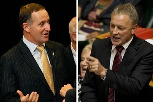 John Key's Government class KiwiSaver contributions as borrowing but Phil Goff says that doesn't stack up. Photos / Sarah Ivey, Mark Mitchell