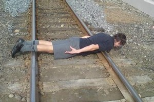 Planking on a railway line was a