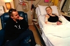 Nick and Stacey in Christchurch Hospital. Photo / Rise Up Christchurch