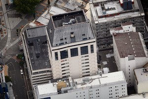 An aerial view The Hotel Grand Chancellor in central Christchurch city. Photo / NZ Herald