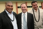 Former All Blacks Va'aiga Tuigamala (left) and Michael Jones  declared before the 2008 election that they were backing John Key. Photo / Paul Estcourt
