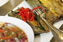 Snapper grilled in banana leaf at Santhiya's. Photo / Supplied