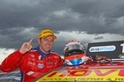 Jason Bright driver of the Team BOC Holden celebrates after winning race 11. Photo / Getty Images