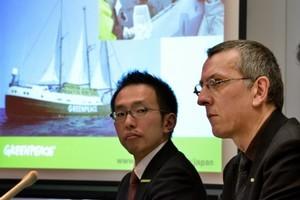 Greenpeace radioactive safety advisor Jan van de Putte of Belgium and Greenpeace Japan executive director Junichi Sato. Photo / AFP
