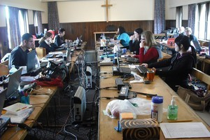 Meridian workers in their temporary offices in the chapel at Wigram air force base. Photo / Supplied