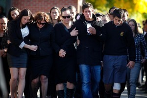 Distraught friends were among those who filled the Hamilton Boys High School hall for Shaun Nilson's funeral service. Photo / Christine Cornege