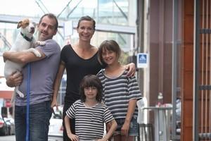 Ian Hughes and Cass Avery with their children Joe Valentine (6) and Frankie Valentine (10). Photo / Natalie Slade