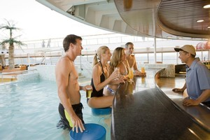 The swim-up bar on the Pacific Pearl Cruise Ship. Photo / Supplied