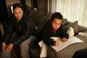 Five-year-old Calvin Whaanga with his mum, Eileen Teina, at their home in Otara. Photo / Greg Bowker