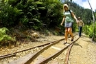 Crossing old rail tracks on the Windows Walkway in the Karangahake Gorge. Photo / Tourism Coromandel